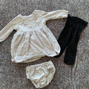 Carter's Kitty Dress + Tights | 6 mo